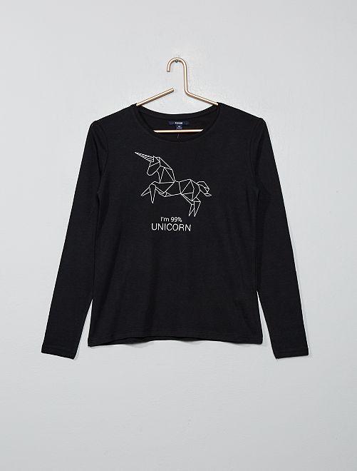 T-shirt imprimée en pur coton                                                                 noir Fille adolescente
