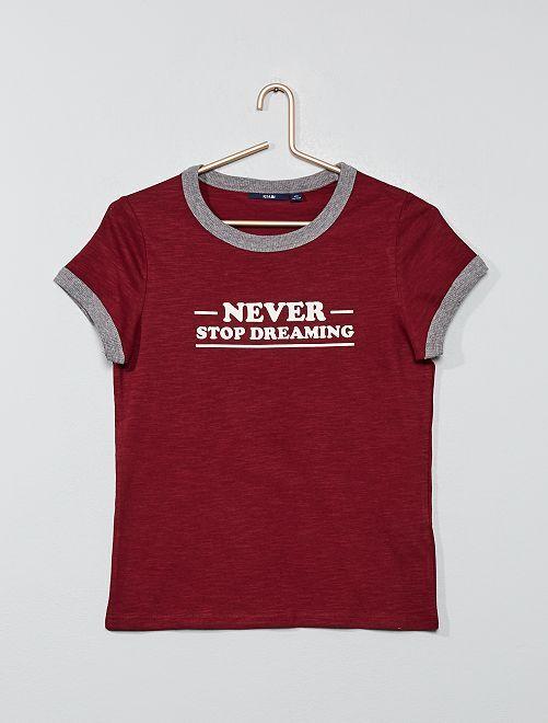 T-shirt imprimés à bords-côtes                                         bordeaux