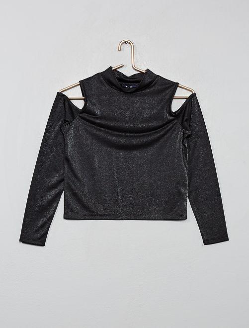 T-shirt irisé ajouré                             noir