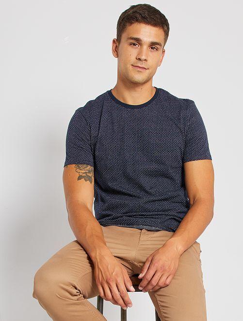 T-shirt jacquard éco-conçu                                                                                         bleu marine