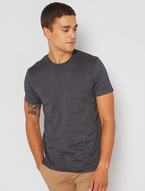 T-shirt jacquard éco-conçu                                                                             gris foncé