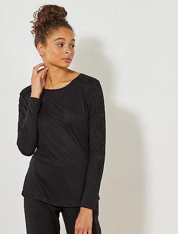 Femme du 34 au 48 - T-shirt 'JDY' avec détail dentelle - Kiabi