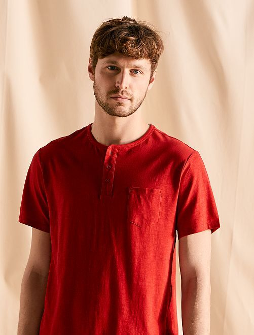 T-shirt jersey col boutonné                                                                 rouge Homme