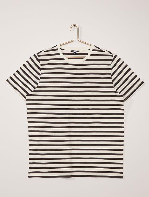 T-shirt jersey rayé                                                                 gris