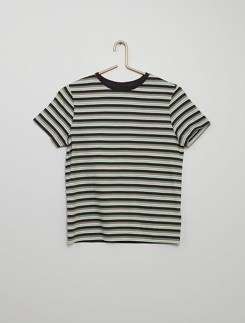 T-shirt jersey rayé                                                                 vert