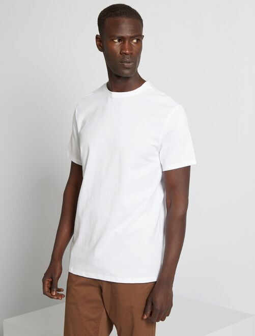 T-shirt jersey uni                                                                                                                                                                                                                                                                             blanc Homme