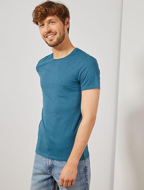 T-shirt jersey uni                                                                                                                                                                                                     bleu canard