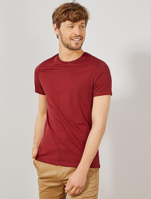 T-shirt jersey uni                                                                                                                                                                                                                                                     bordeaux Homme