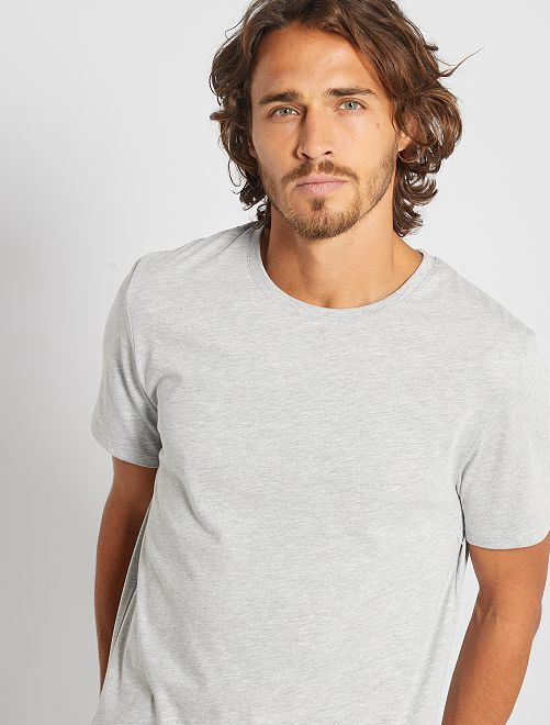 T-shirt jersey uni                                                                                                                                                                                         gris chiné clair