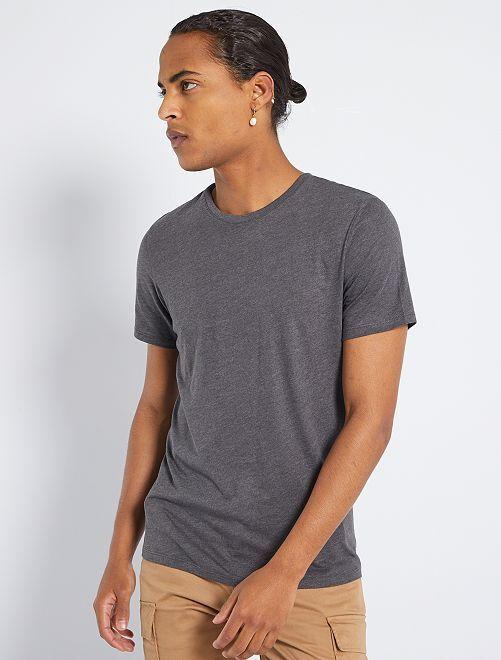 T-shirt jersey uni                                                                                                                                                                                                                             gris chiné foncé