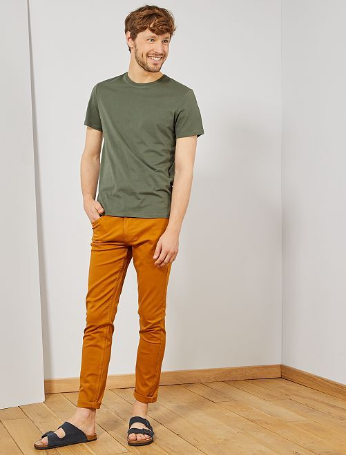 T-shirt jersey uni                                                                                                                                                                                                                                                     kaki Homme