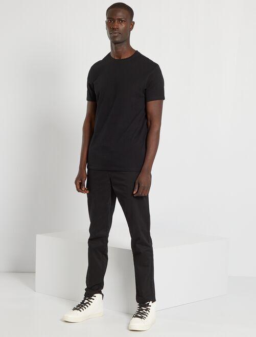 T-shirt jersey uni                                                                                                                                                                                                                     noir Homme