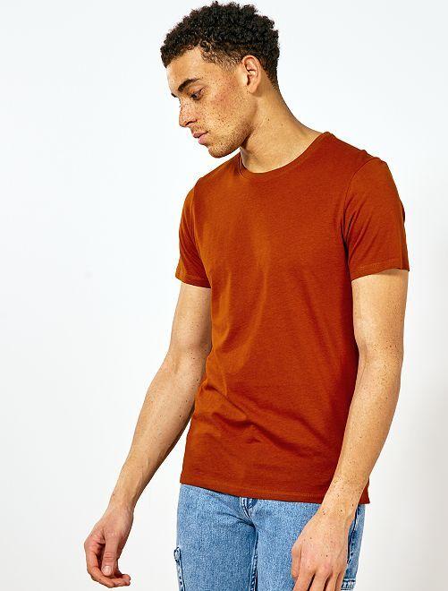 T-shirt jersey uni                                                                                                                                         rouille Homme