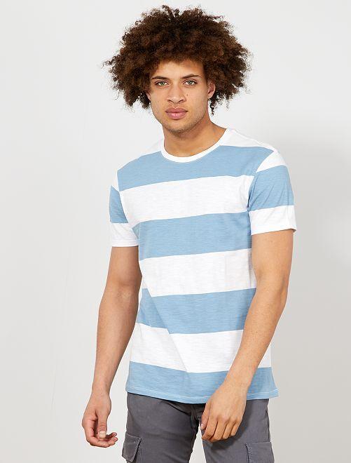 T-shirt larges rayures                                         bleu Homme