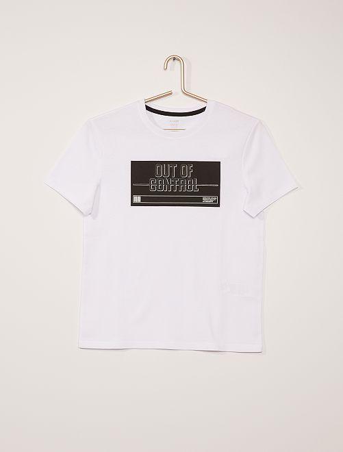 T-shirt lettrage relief                                         blanc