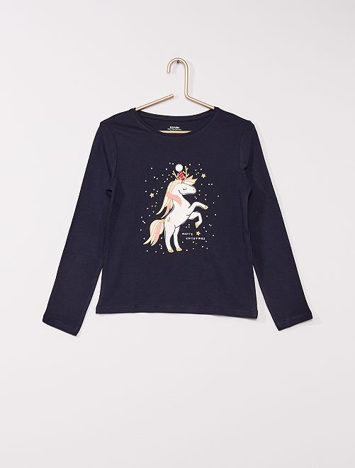 T-shirt 'licorne' éco-conçu                                                                                                                                         marine licorne