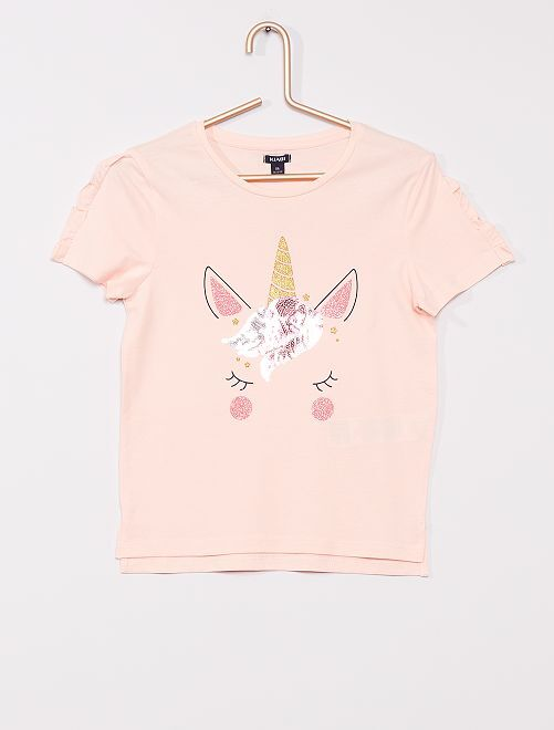 T-shirt licorne                                         rose
