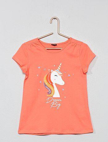 e1afed5fa1fc4 Fille 3-12 ans - T-shirt  licorne  velours - Kiabi