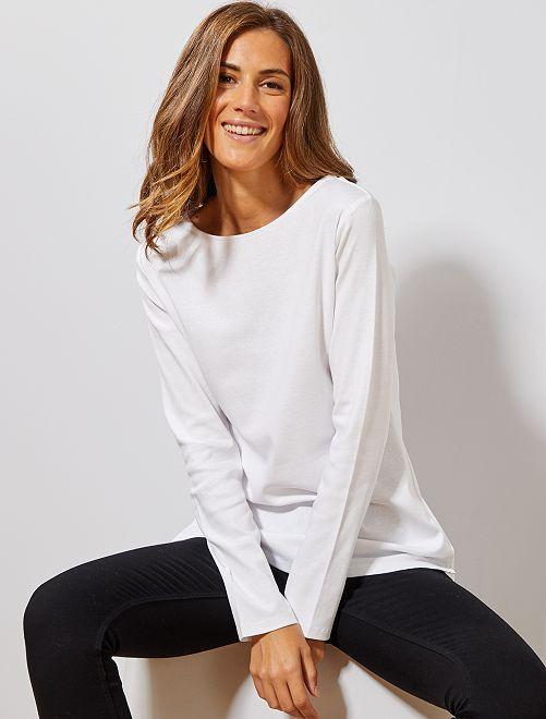 T-shirt long basique                                             blanc