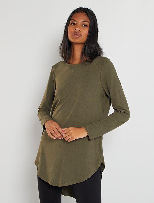T-shirt long uni                             kaki