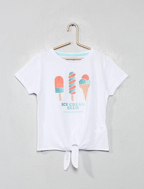 T-shirt 'Longboard' à paillettes                                         blanc
