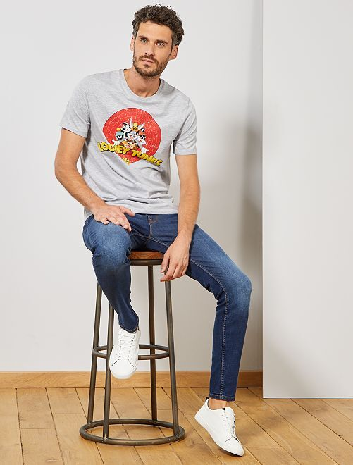 T-shirt 'Looney Tunes'                             gris clair chiné