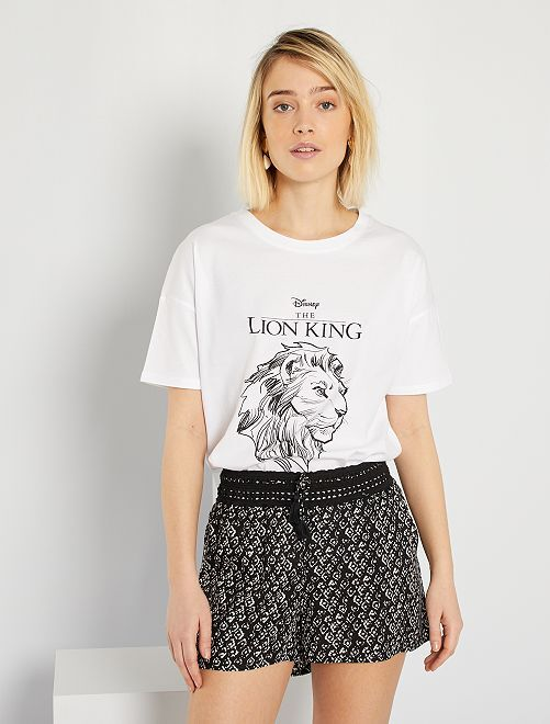 T-shirt loose 'Roi Lion'                                                                                                                 blanc lion