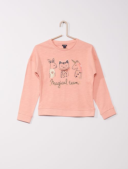 T-shirt ludique 'animaux'                                                     rose