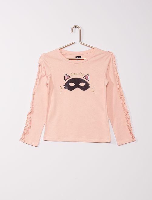 T-shirt ludique 'chat'                                         rose