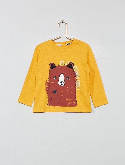 T-shirt ludique en jersey                                                     jaune Bébé garçon