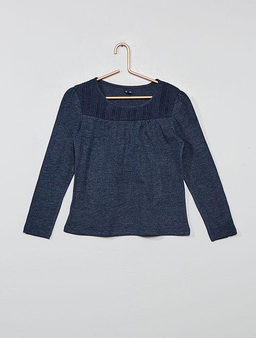 T-shirt macramé                                                                                         bleu marine