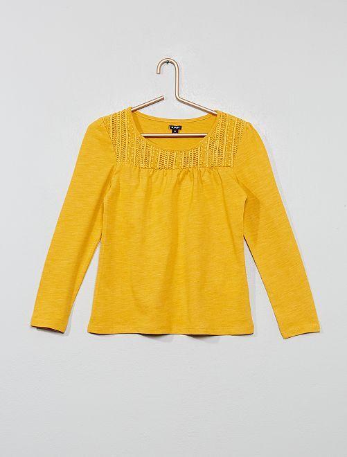 T-shirt macramé                     jaune
