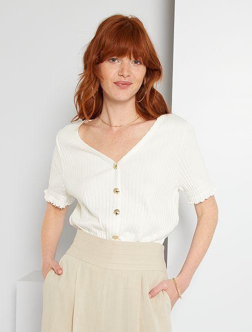 T-shirt maille côtelée                             blanc