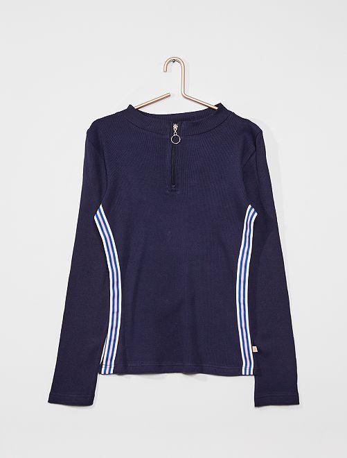 T-shirt maille côtelée                                         bleu