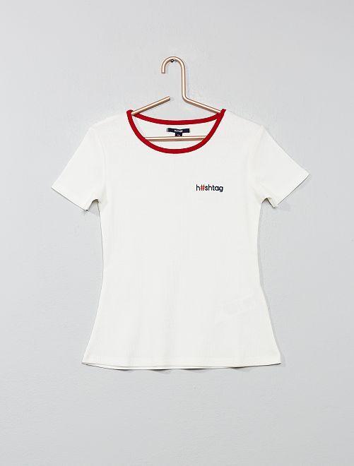 T-shirt maille côtelée                                                                 écru Fille adolescente