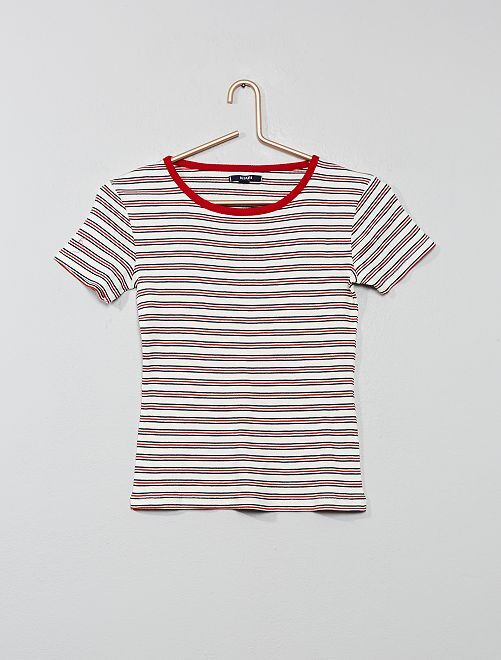 T-shirt maille côtelée                                                                 rayé rouge Fille adolescente