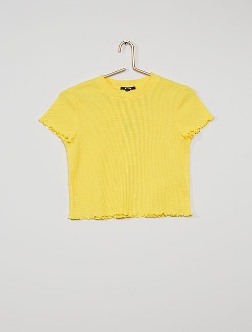 T-shirt maille en nid d'abeille                             jaune