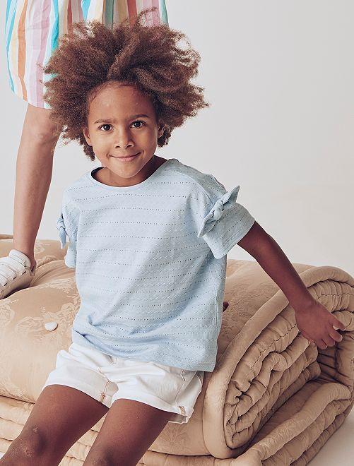 T-shirt maille fantaisie                                                                 bleu