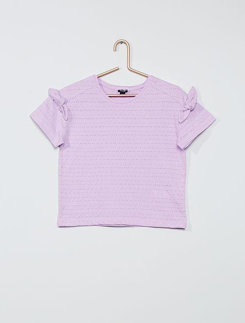 T-shirt maille fantaisie                                                                 mauve clair