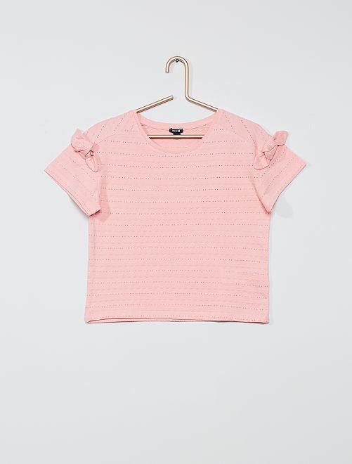 T-shirt maille fantaisie                                                                 rose pastel