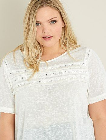 Grande taille femme - T-shirt maille flammée et macramé - Kiabi