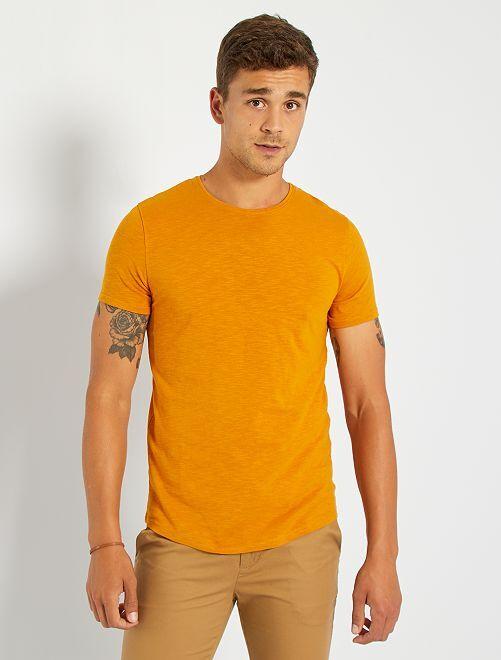 T-shirt maille flammée                                                                                                     jaune moutarde