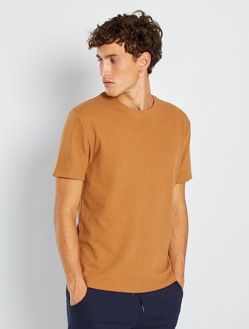 T-shirt maille texturée                                                                                                     beige