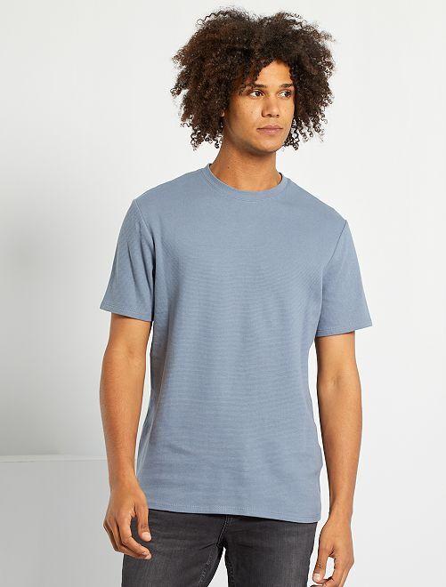 T-shirt maille texturée                                                                                                     bleu gris