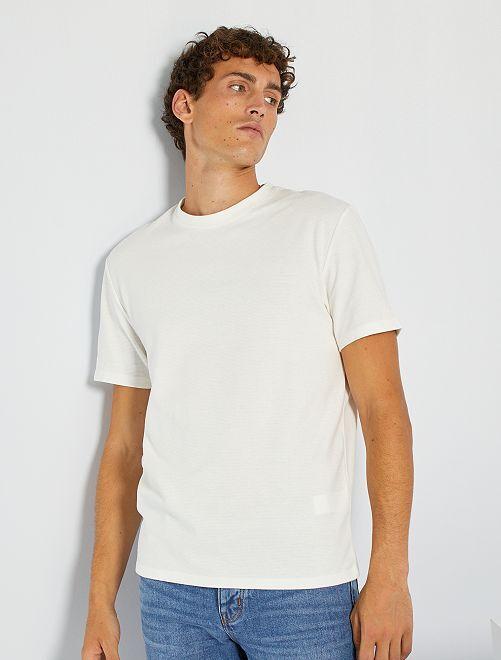 T-shirt maille texturée                                                                                                     écru