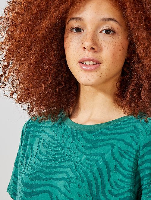 T-shirt maille zébré                             vert Femme