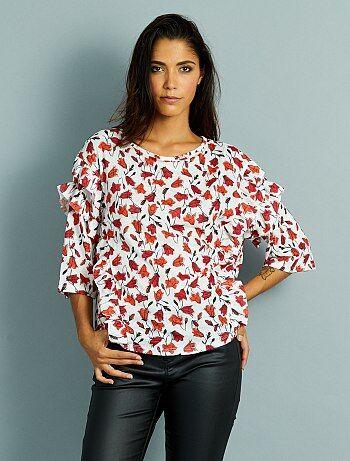 T-shirt manches 3/4 à volants                                                                 imprimé floral Femme