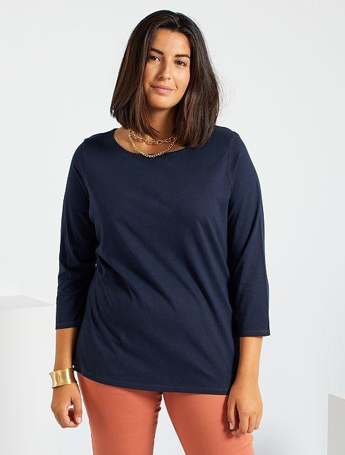 T-shirt manches 3/4                                                                             bleu marine