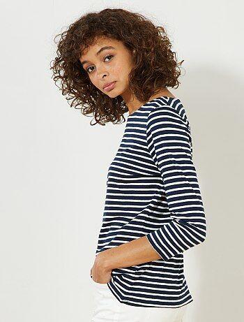 Femme du 34 au 48 - T-shirt manches 3/4 col bateau - Kiabi
