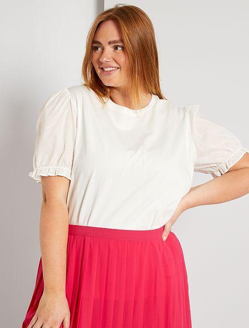 T-shirt manches ballon                                                     blanc